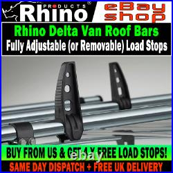 2 x Rhino Delta Van Roof Rack Steel Bars + Load Guards Vauxhall Astra 2006-2013