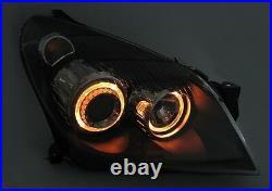 Black Angel Eye Headlights Headlamps For Vauxhall Opel Astra H Mk5 Mk 5 Asthan
