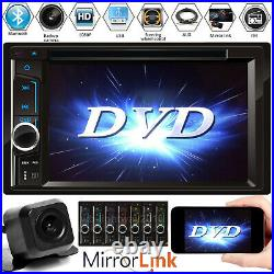 Double 2 Din Car Stereo Radio Touch Screen Bluetooth FM CD DVD Mirror For GPS