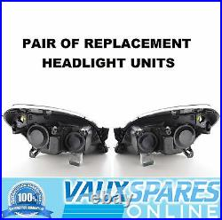 Vauxhall Astra H Mk5 Pair Black Headlights + Smoked Side Repeaters Sri Vxr Cdti